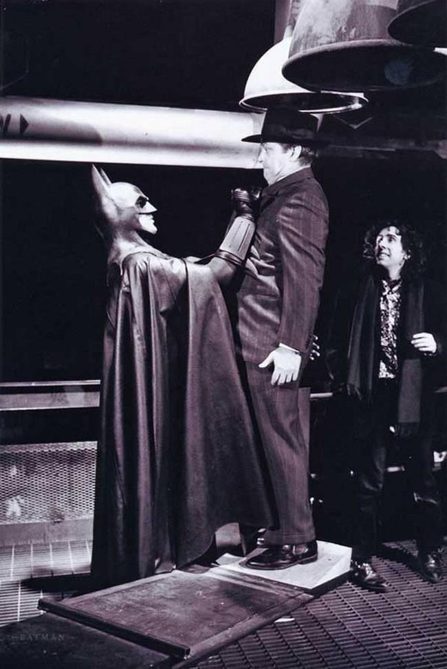 Майкл Китон, Джек Николсон и Тим Бертон на съемках фильма «Бэтмен», 1989 год