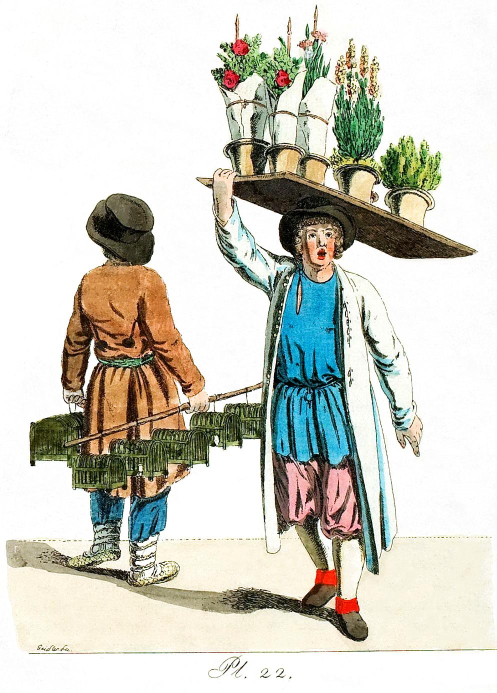 22.Karnarienvogelverkäufers und eines Blumenverkäufers / Продавец птиц и цветочник