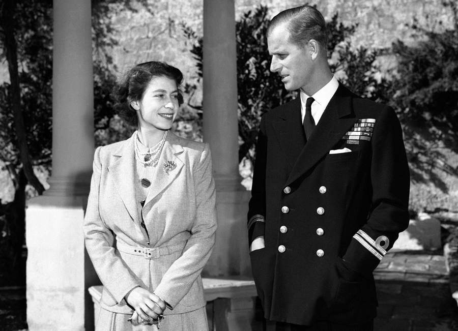 Princess Elizabeth and her husband, Philip, Duke of Edinburgh, in the grounds of the Villa Guardaman