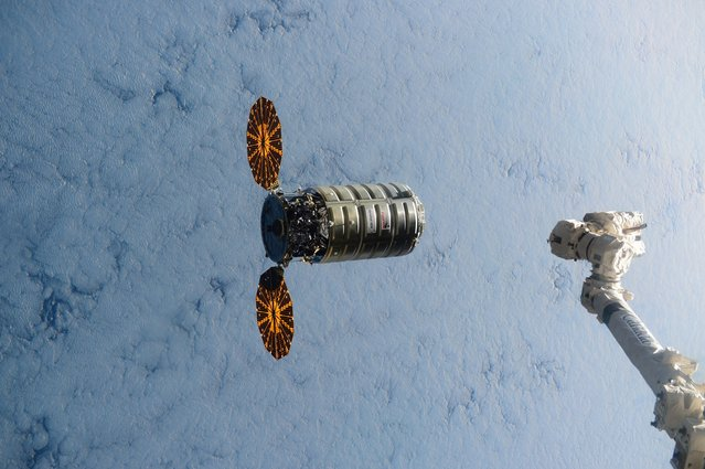 This image made available by NASA via Twitter shows the Cygnus spacecraft approaching the Internatio