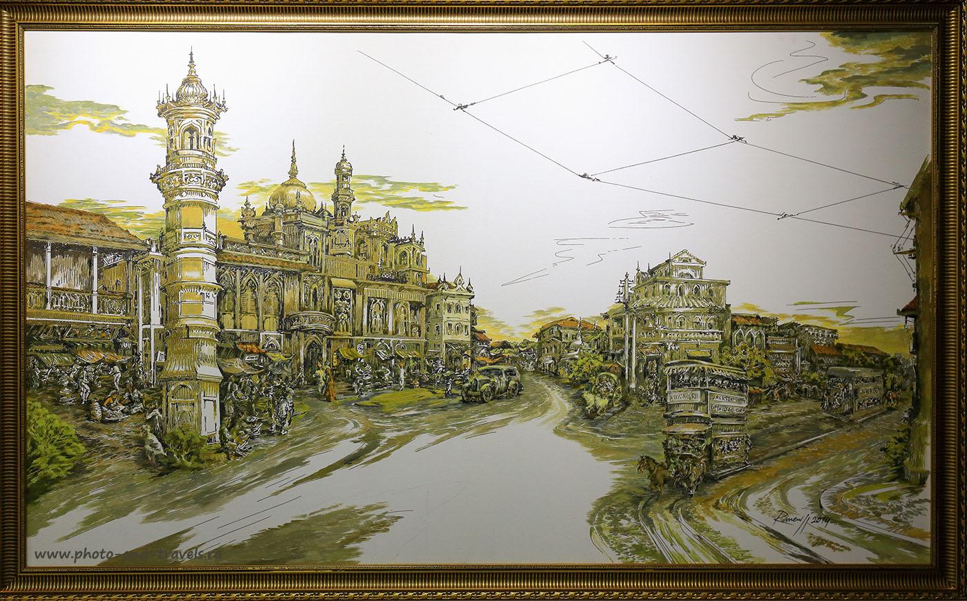 Фото 1. Современная живописная работа, изображающая улицу Бомбея в первой трети прошлого века. Отзывы туристов о поездке в Индию. Камера Canon EOS 6D, объектив Canon 24-70/2.8. Параметры съемки: 1/125, 0eV, f7.1, 42mm, ISO 1600)