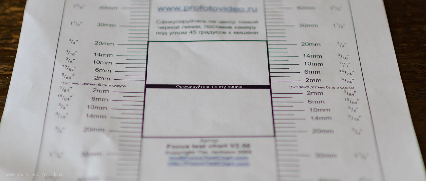 Фотография 2. Образец поправки АФ на -5 при тестировании фикса Никон 35/1,4 на полном кадре Никон Д610. Бэк-фокус...