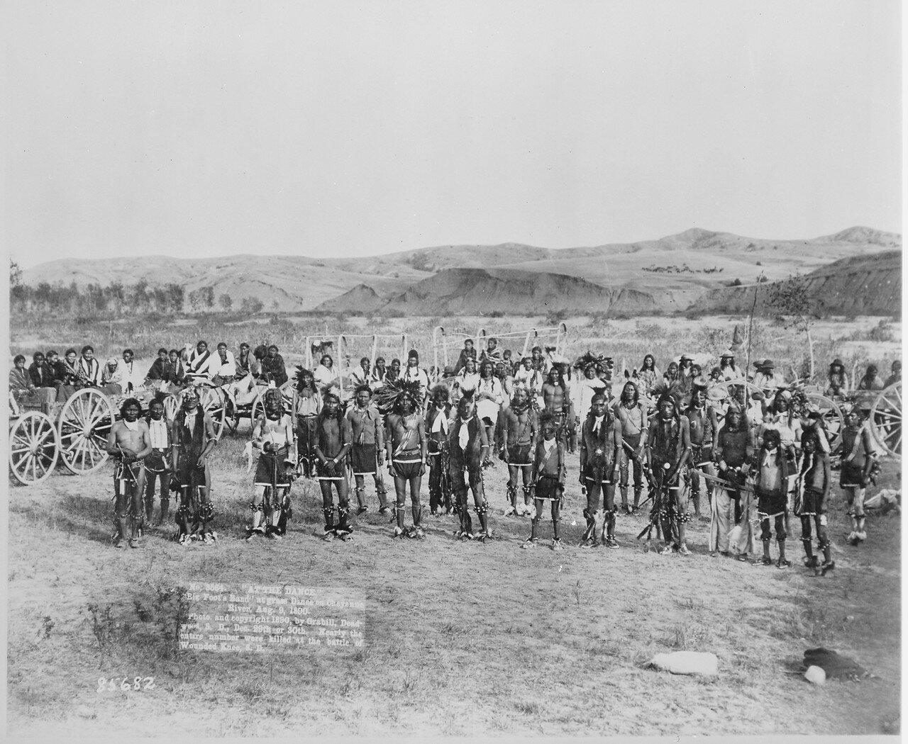 1890. Группа индейцев племени миннеконжу во главе с вождем «Большая Нога». Реки Шайенн, штат Южная Дакота, 08 сентября