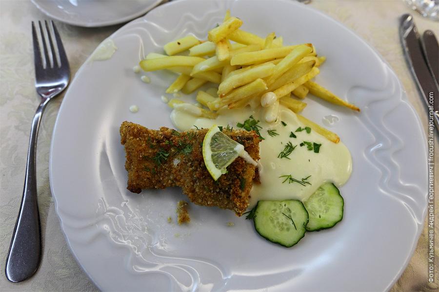Шницель «Окский», картофель фри, сливочный соус. фотографии еды на теплоходе