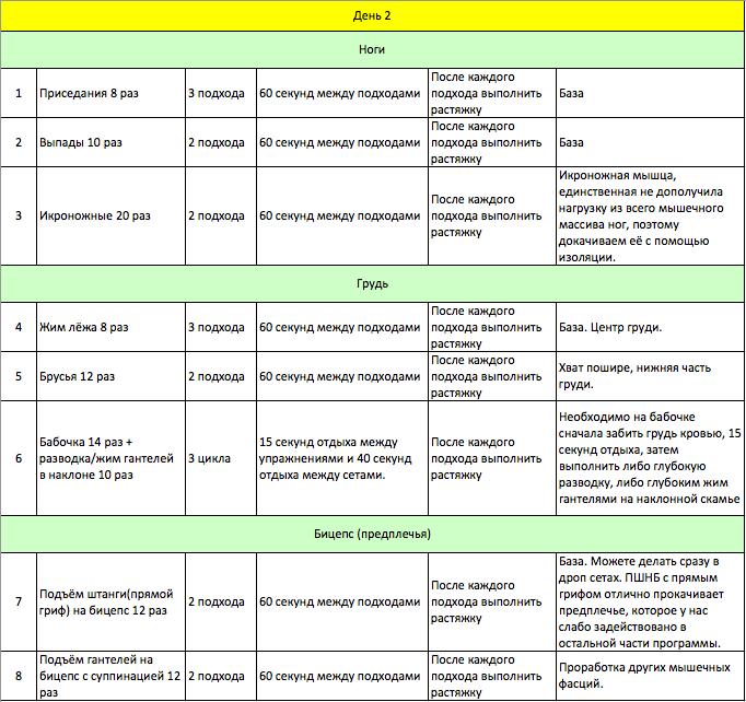 Курс упражнений для набора мышечной массы в домашних условиях 277