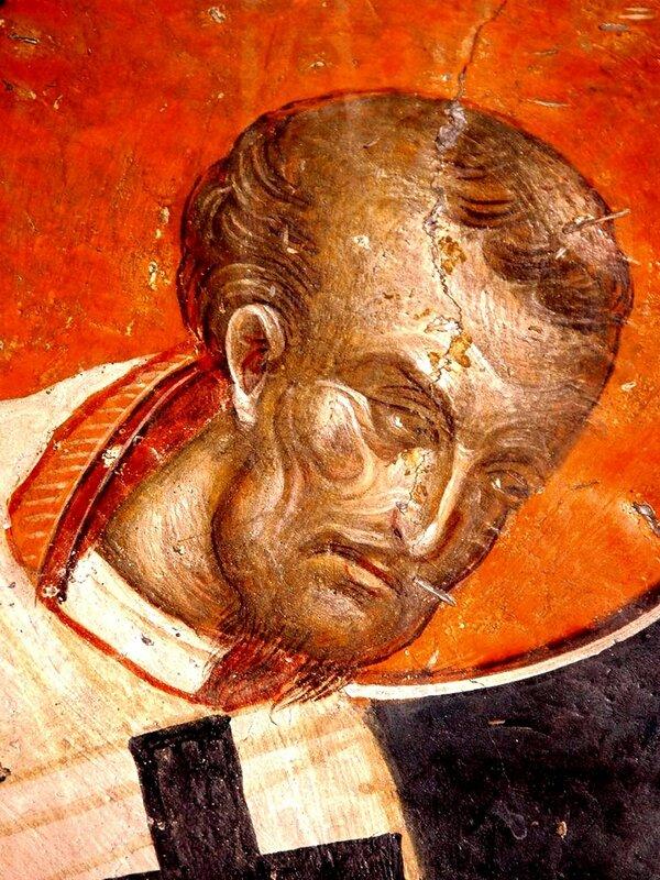 Святитель Иоанн Златоуст, Архиепископ Константинопольский. Фреска церкви Св. Николая Орфаноса в Салониках, Греция. XIV век.