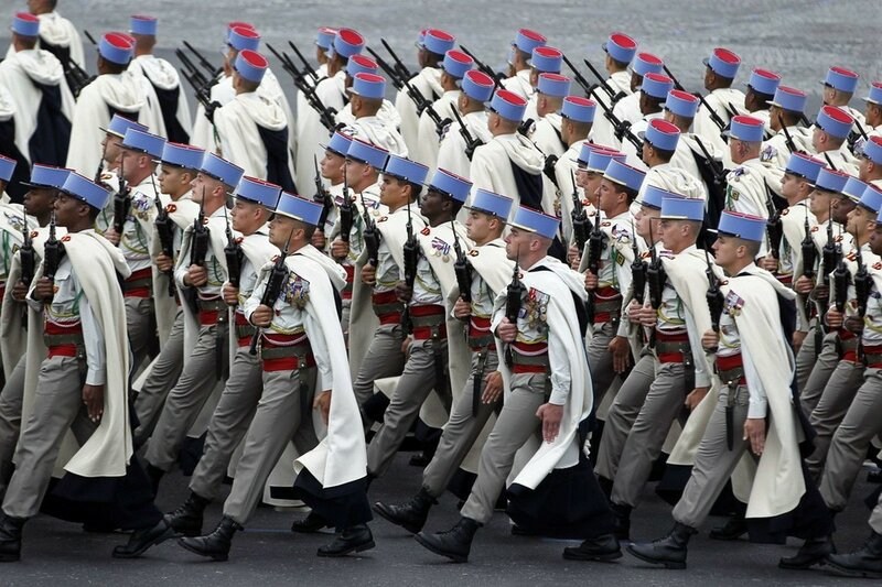French soldiers from the 1st Spahis Regiment take part in the traditional Bastille Day military parade in Paris