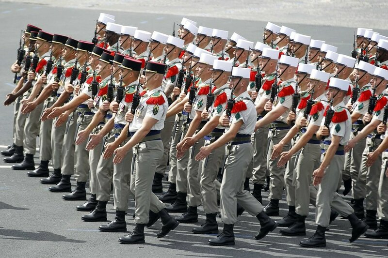Soldiers from French Foreign Legion take part in the traditional Bastille Day military parade in Paris