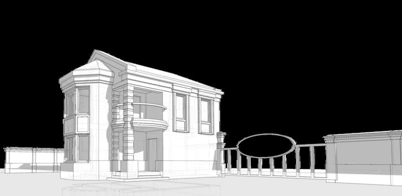 Боковой фасад жилого дома с эркером и балконом. Фасад, выходящий в сторону приусадебного участка.