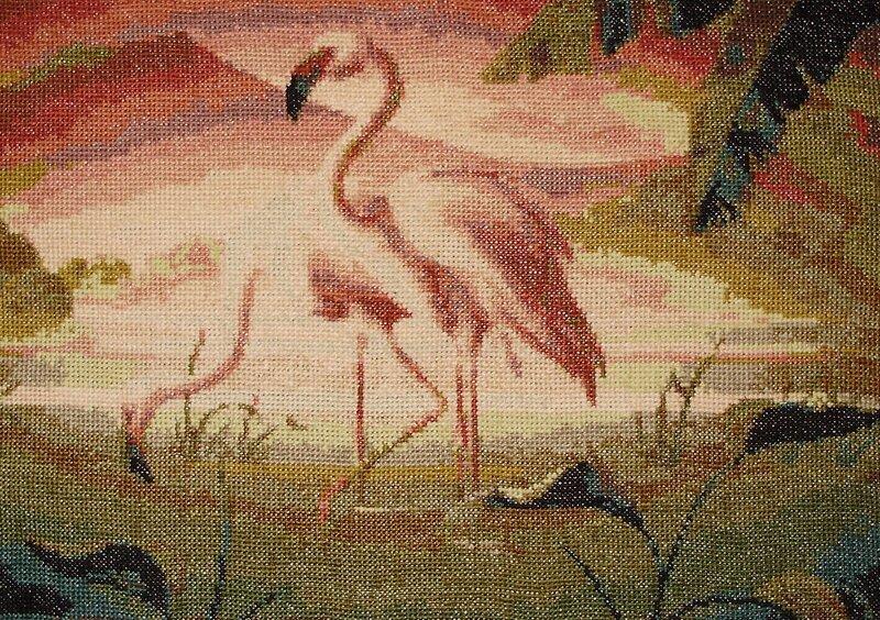 "Вышивка  ""Розовые фламинго "" ."
