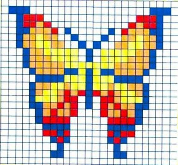 Схема вышивки крестиком бабочки.