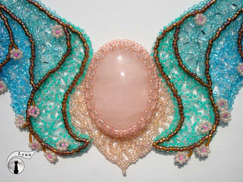 """lyna-nika Колье  """"Весенние витражи """" бисероплетение колье розовый кварц ручная работа украшение."""