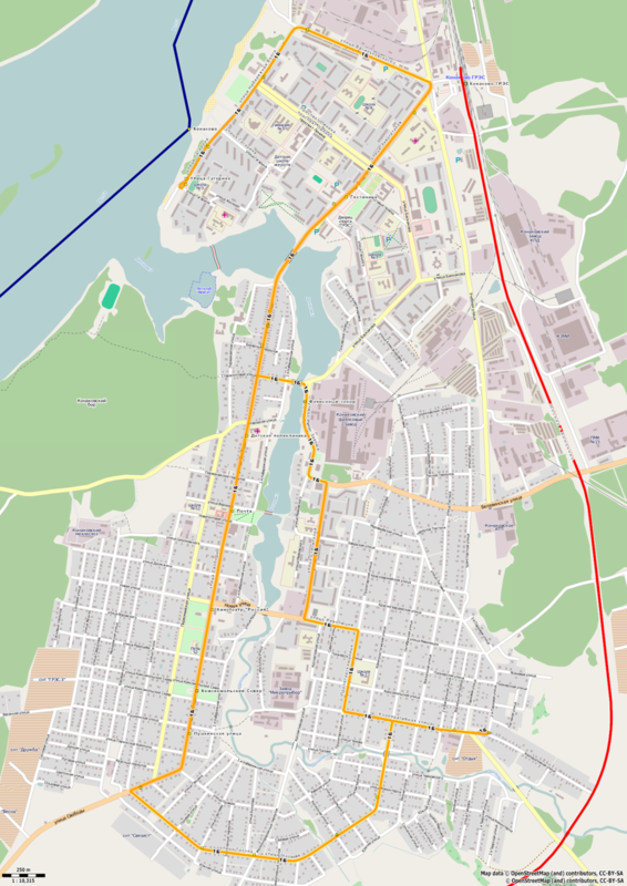Конаково, схема городского автобусного маршрута 1Б
