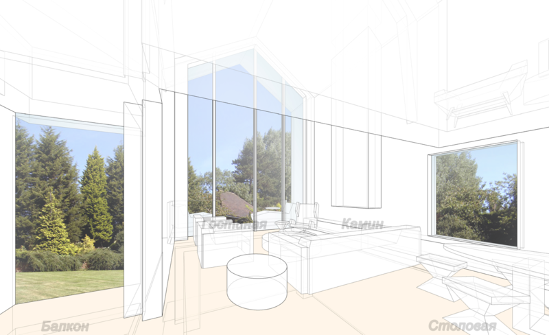 Просторная гостиная жилого дома для шести человек в доме 350 кв.м, проект.