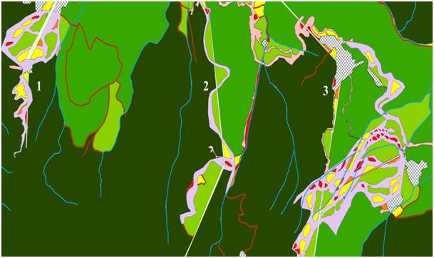 ArcGIS - Фрагментация горных лесов