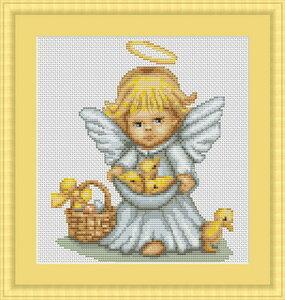 Вышивка крестом ангел с овечкой 69