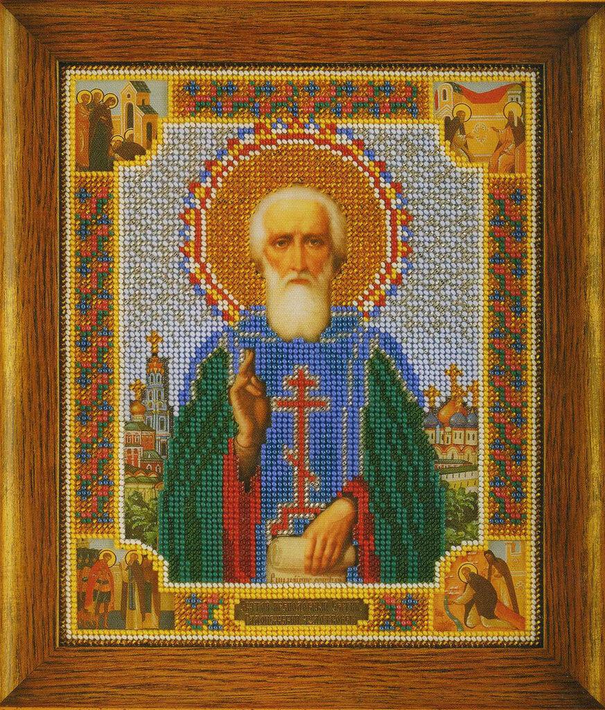 Рамка для иконы Преподобный Сергий Радонежский 19,2 х 23,6 см (Радуга Бисера) .