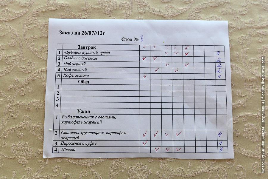 В ресторане теплохода заказная система, включая завтрак. теплоход Федор Достоевский