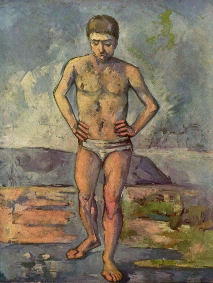 Сезанн, масло, купальщик, (1885-1887) Cezanne, Bather(1885-1887)