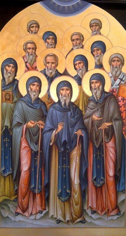Святые Тринадцать Сирийских Отцов. Иконописец Зураб Модебадзе.