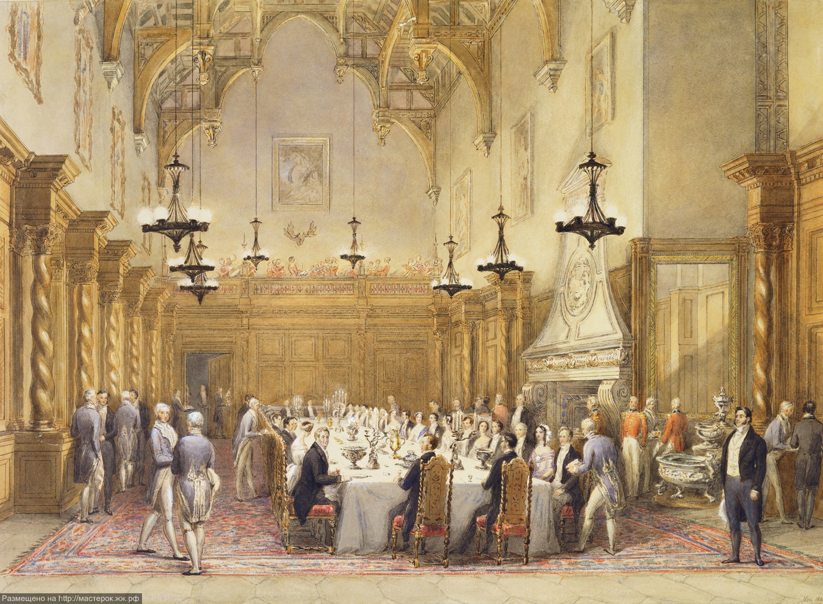 Dinner party held after the christening at Burghley House