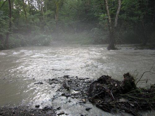 Разлившаяся горная река