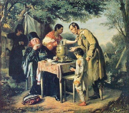 Василий Григорьевич Перов. Чаепитие в Мытищах, близ Москвы. 1862 год.