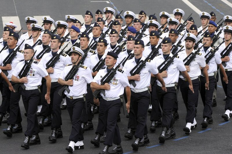 French navy servicemen take part in the