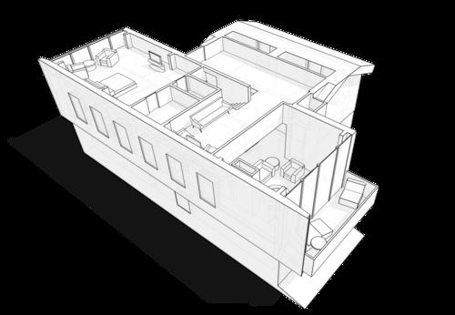 План мансарды. Мансардный этаж, с остекленным балконом над «вторым светом» в гостиной нижележащего этажа в жилом доме с широким витринным остеклением по фасаду, проект.