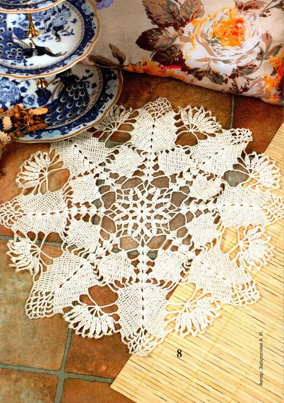 Салфетка с цветком в филейном вязании