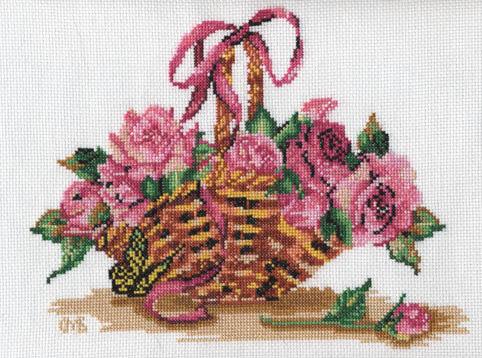 """Предпросмотр - Схема вышивки  """"Корзинка роз """" - Схемы автора  """"lucha """" - Вышивка крестом."""