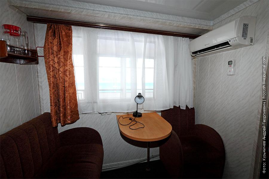 Двухкомнатная каюта №4 на средней палубе. теплоход Белинский