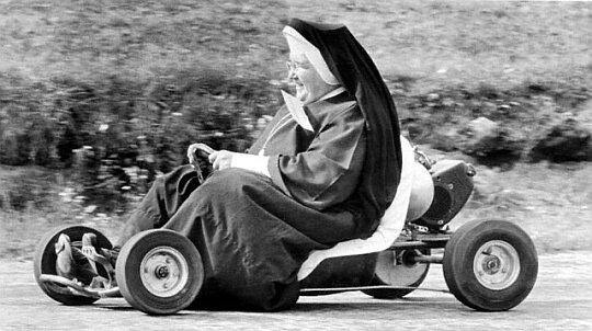 Nun Races Go-Cart