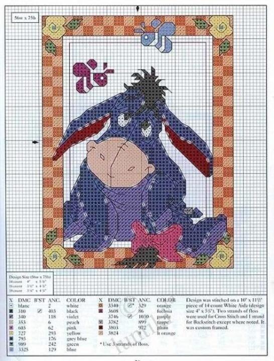 Схема вышивки крестиком - Винни пух и его друзья.