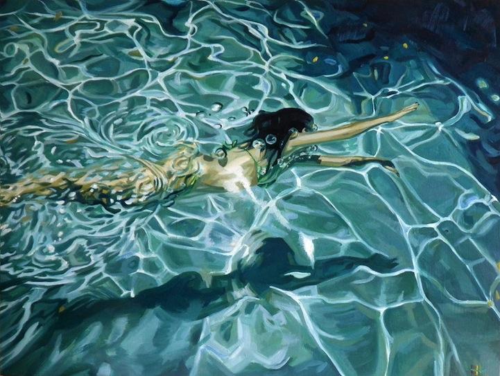 Женщины скользящие по воде