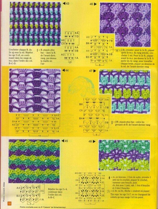 Схемы вывязывания разноцветных цветов на спицах