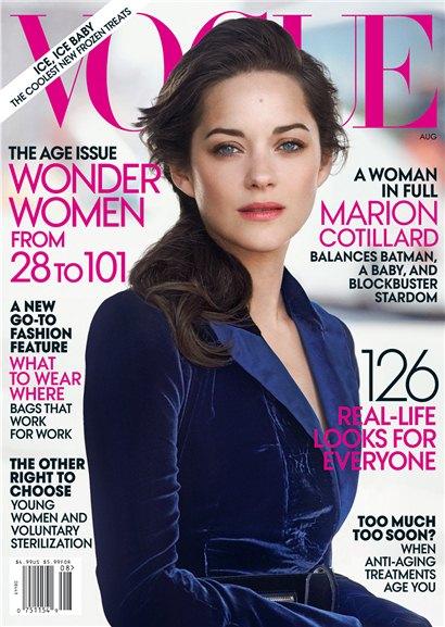 Marion Cotillard / Марион Котийяр на обложке журнала Vogue США, август 2012 / фотограф Peter Lindbergh