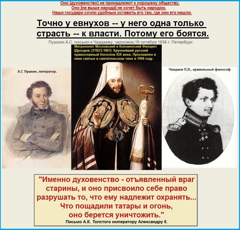 Пушкин, Чаадаев, Филарет