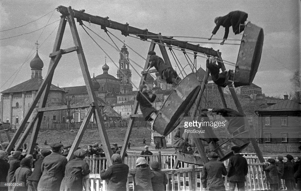 1939 Zagorsk, A swing at the Trinity-Sergievoj laurels, 12 May 1939.jpg