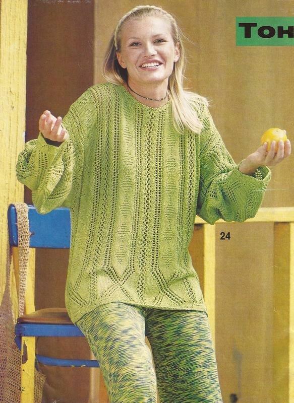 Широкий свитер спицами 3