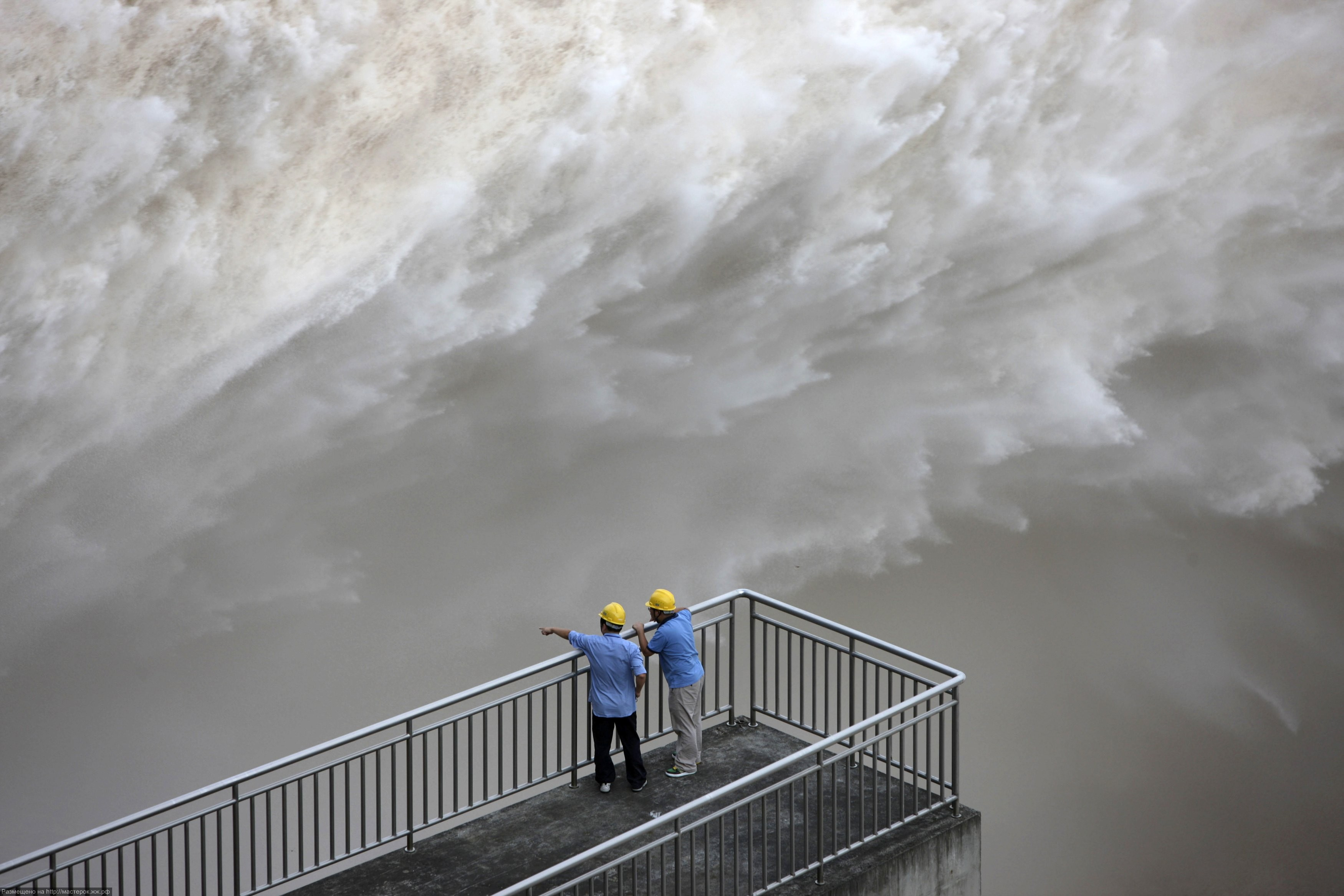 The Three Gorges Dam discharges water to lower the level in a reservoir in Yichang