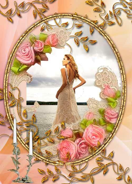 Три свадебных рамки PSD в романтическом стиле