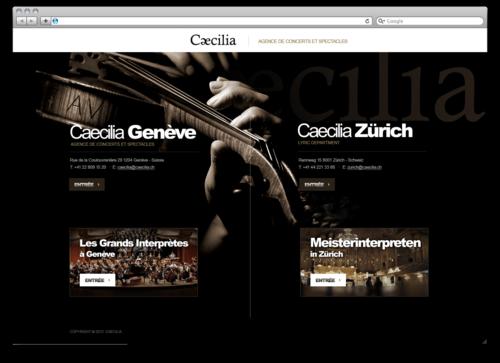 Макет главной страницы сайта артистического агентства в Женеве