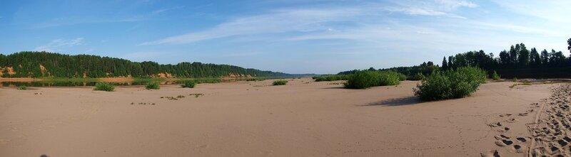 Панорама песчаного острова. Вид на север