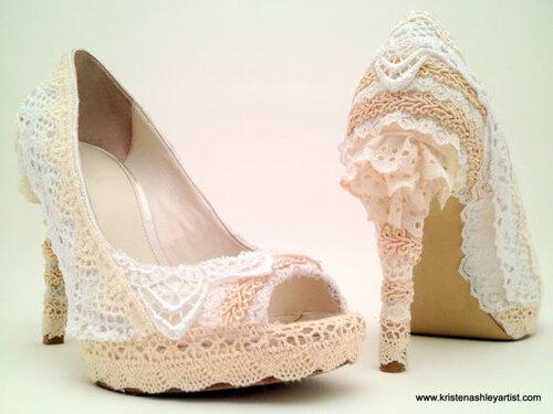 Оформление обуви кружевом