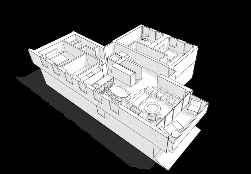 План первого этажа жилого дома на 350кв.м Четкое разграничение на приватную общественную гостино-столовую, помещения гостевых спален с окнами на улицу  приватную спальню хозяев с вспомогательными помещениями в сторону сада