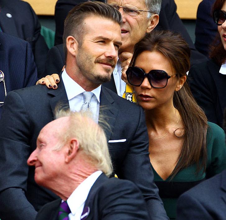 Дэвид и Виктория Бекхем (David and Victoria Beckham) на трибунах теннисного турнира в Уимблдоне