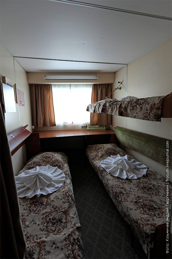 Трехместная двухъярусная каюта №155 в носовой части главной палубы теплоход Семен Буденный