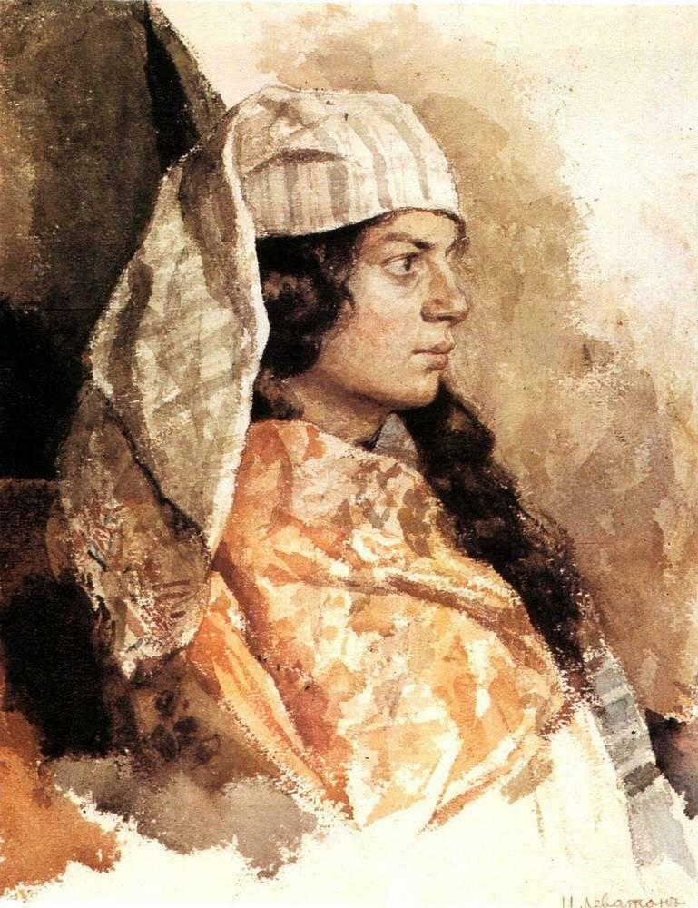 Портрет девушки-еврейки, 1884 г.,акварель, Левитан И.И,, музей-заповедник художника Василия Поленова