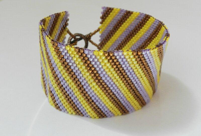 желто-фиолетовый - японский бисер,браслет из бисера,фиолетовый,желтый.